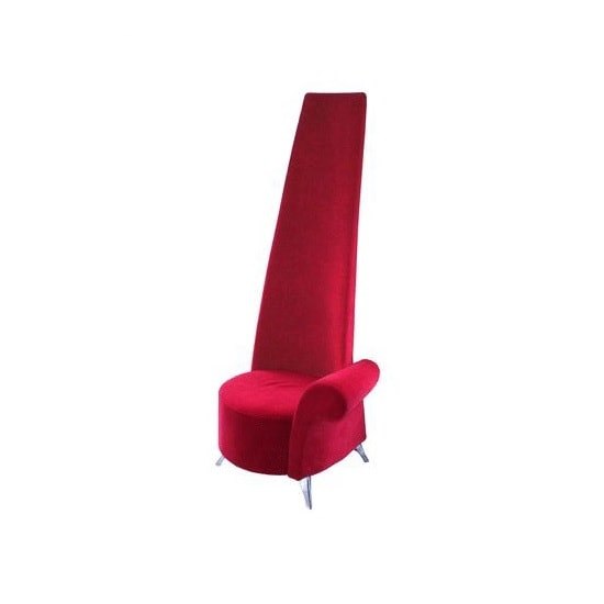 Potenza Novelty Chair In Red Velvet With Chromed Steel Feet