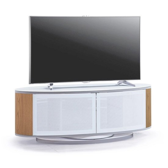 Powell White Glass Top TV Stand In Oak And White Gloss_2