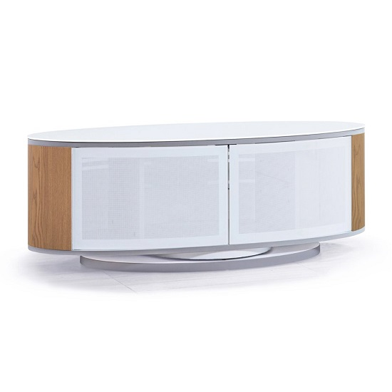 Powell White Glass Top TV Stand In Oak And White Gloss_4