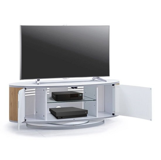 Powell White Glass Top TV Stand In Oak And White Gloss_3