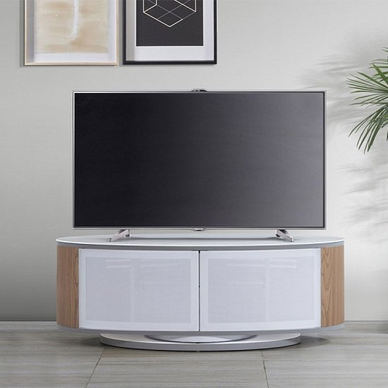Powell White Glass Top TV Stand In Oak And White Gloss_1