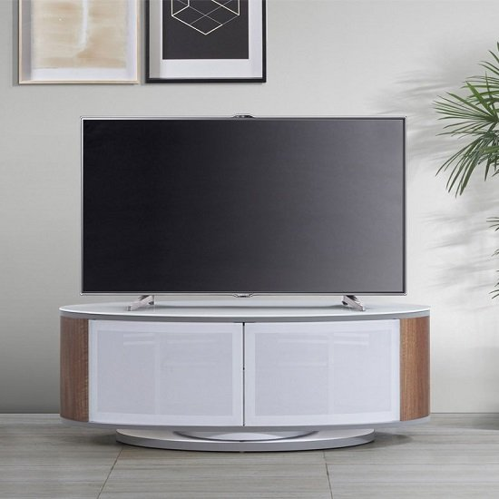 Powell White Glass Top TV Stand In Walnut And White Gloss