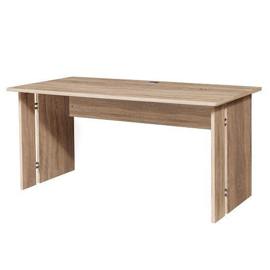 Power Wooden Computer Desk Rectangular In Sonoma Oak