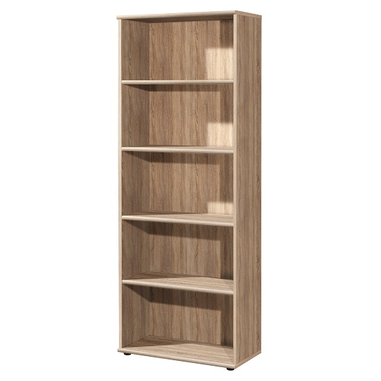 Power Wooden Home Office Shelving Unit In Sonoma Oak And 4 Shelf_1
