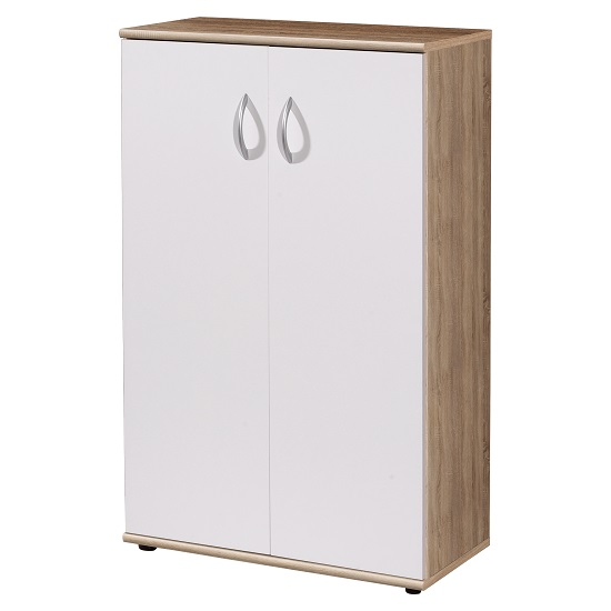 Photo of Power wooden home office filing cabinet in sonoma oak and white
