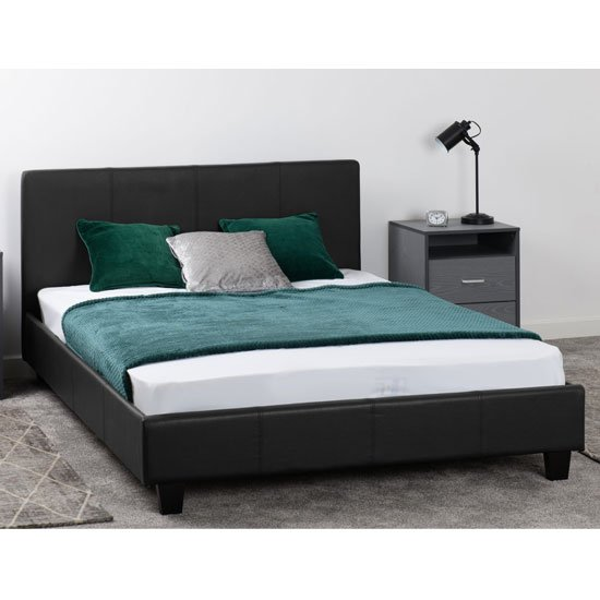 Prada Faux Leather Small Double Bed In Black