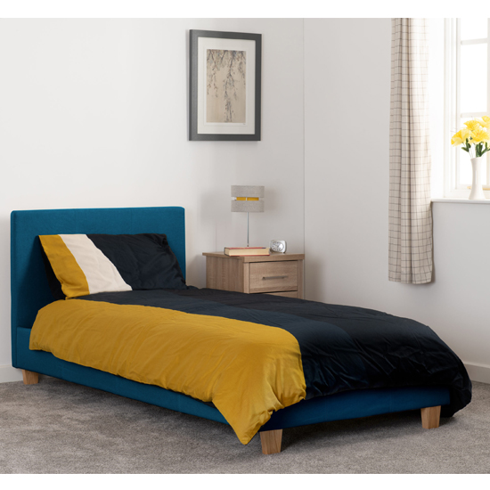 Prado Fabric Upholstered Single Bed In Petrol Blue