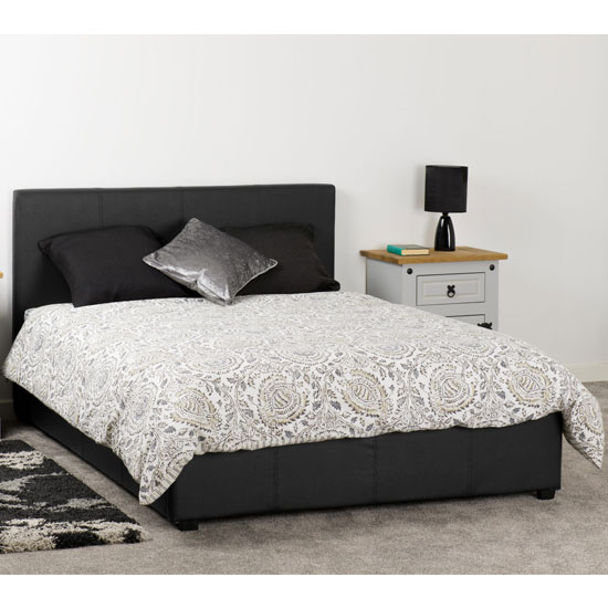 Prada Plus Faux Leather Storage King Size Bed In Black