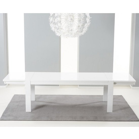Prato Extendable Dining Table In White High Gloss With Storage