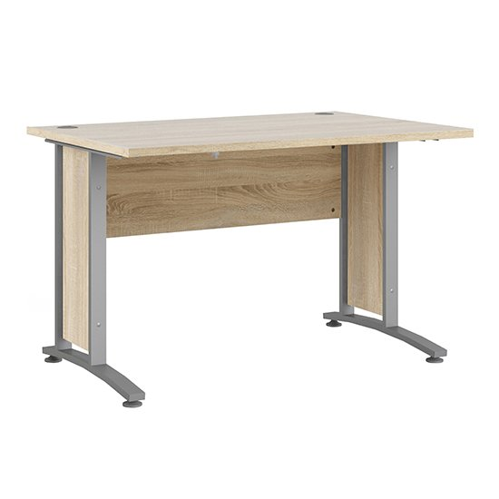 Prax 120cm Computer Desk In Oak With Silver Grey Legs