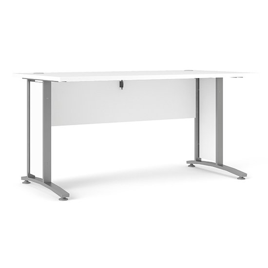 Prax 150cm Computer Desk In White With Silver Grey Legs