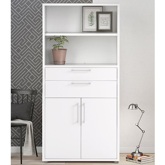 Prax Tall 2 Doors 2 Drawers Office Storage Cabinet In White