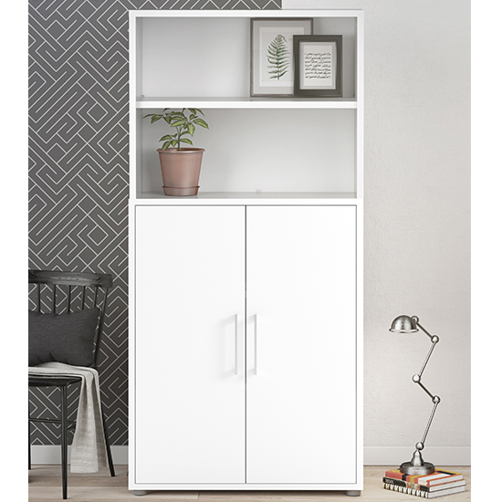 Prax 2 Doors 4 Shelves Office Storage Cabinet In White