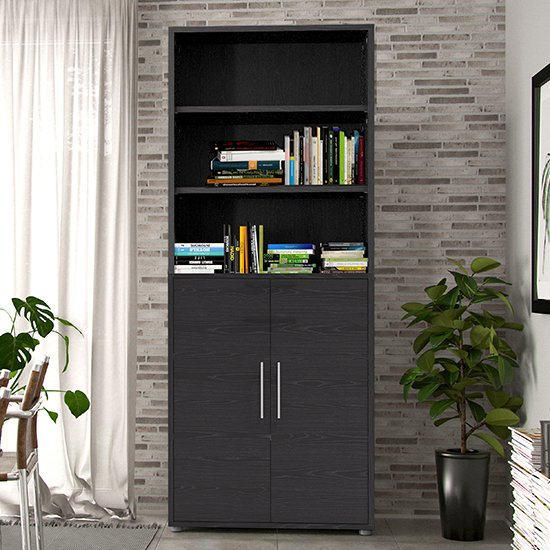 Prax 2 Doors 5 Shelves Office Storage Cabinet In Black