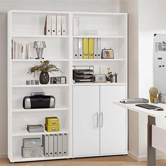 Prax 2 Doors 5 Shelves Office Storage Cabinet In White_7