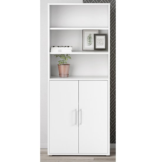 Prax 2 Doors 5 Shelves Office Storage Cabinet In White_1