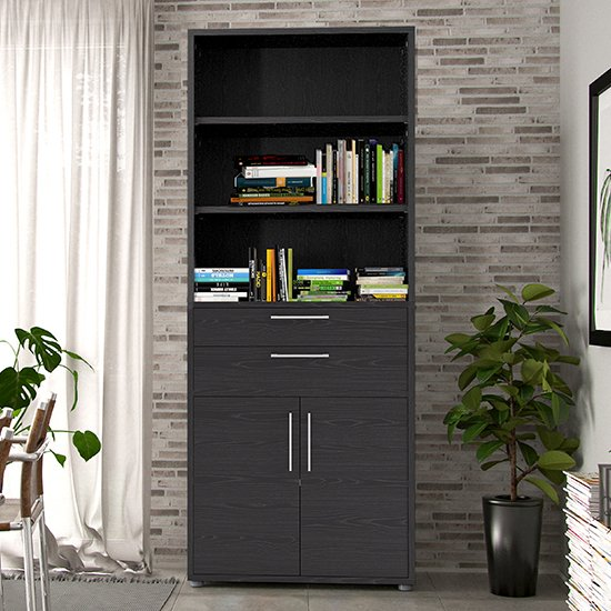 Prax Tall 2 Drawers 2 Doors Office Storage Cabinet In Black