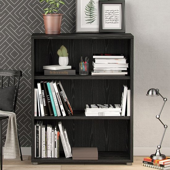 Prax Wooden 2 Shelves Home And Office Bookcase In Black