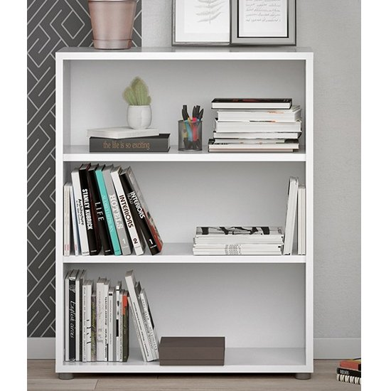 Prax Wooden 2 Shelves Home And Office Bookcase In White