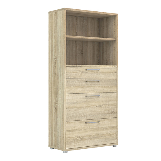 Prax 4 Shelves 2 Drawers Office Storage Cabinet In Oak