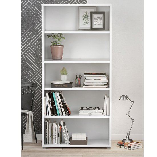 Prax Wooden 4 Shelves Home And Office Bookcase In White