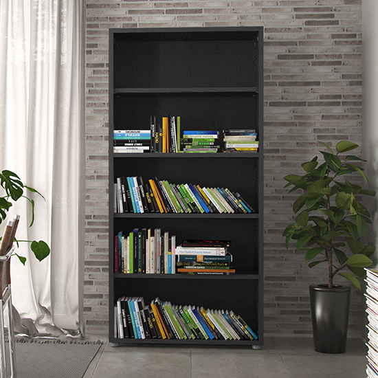 Prax 4 Shelves Open Home And Office Bookcase In Black