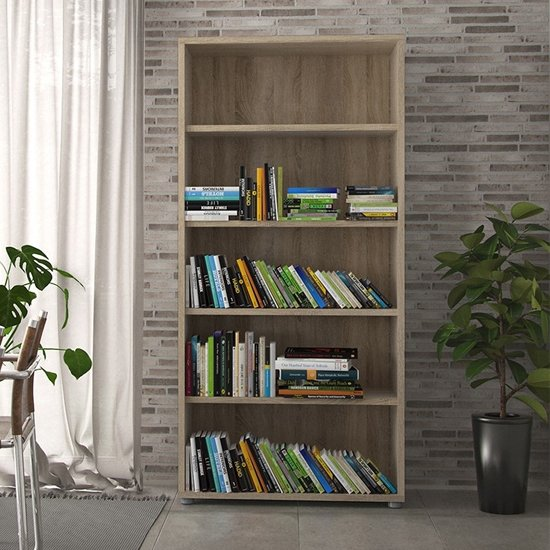 Prax 4 Shelves Open Home And Office Bookcase In Oak