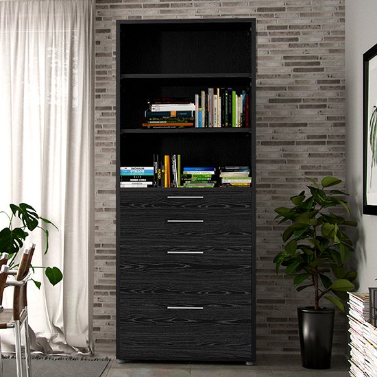 Prax 5 Shelves 2 Drawers Office Storage Cabinet In Black