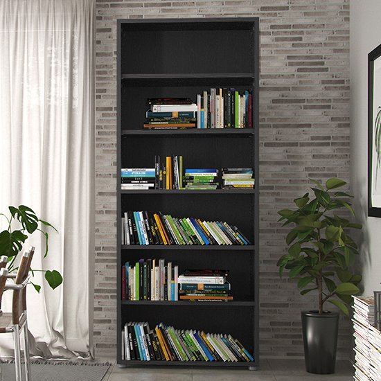 Prax 5 Shelves Home And Office Bookcase In Black