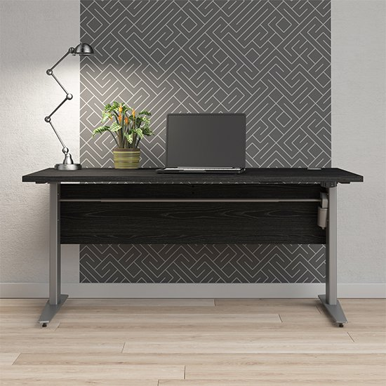 View Prax electric 150cm computer desk in black with silver grey legs