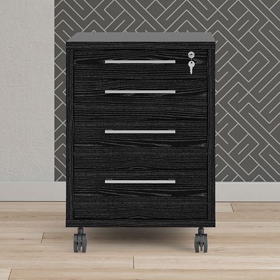 Prax Mobile Office Pedestal In Black With 4 Drawers