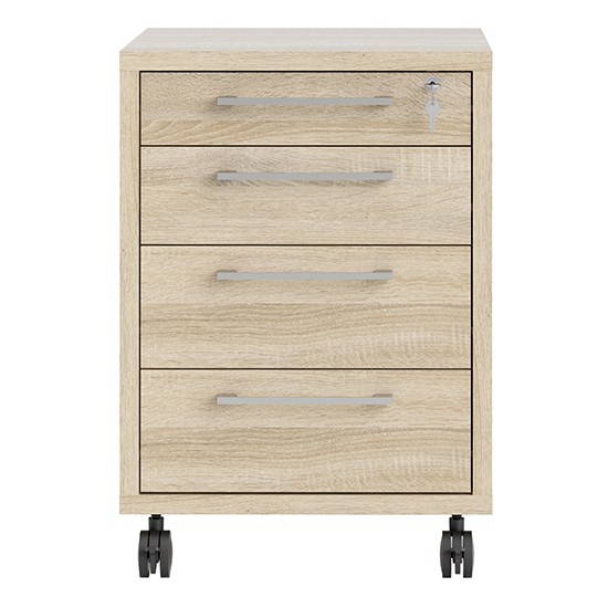 Prax Mobile Office Pedestal In Oak With 4 Drawers_3