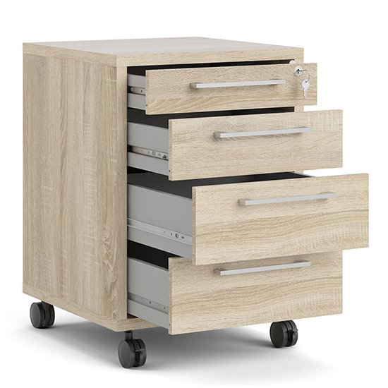 Prax Mobile Office Pedestal In Oak With 4 Drawers_4