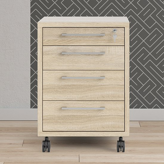 Prax Mobile Office Pedestal In Oak With 4 Drawers_1