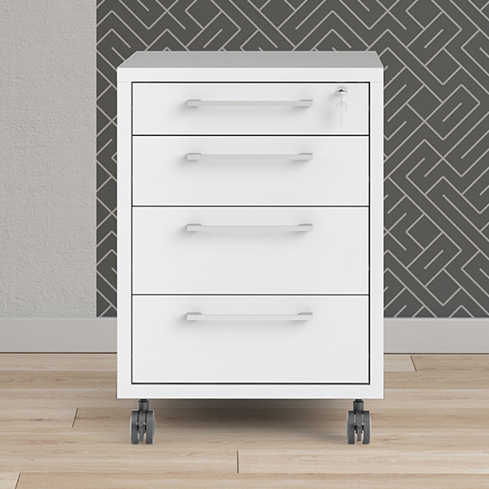 Prax Mobile Office Pedestal In White With 4 Drawers