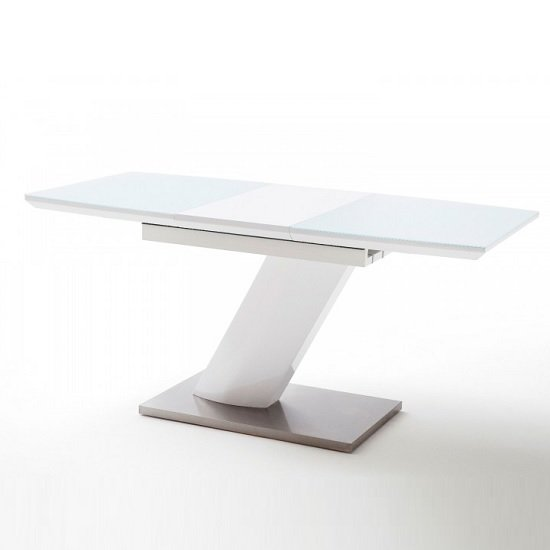 Preda Extendable Glass Dining Table In High Gloss White