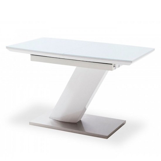 Preda Extendable Glass Dining Table In High Gloss White_2