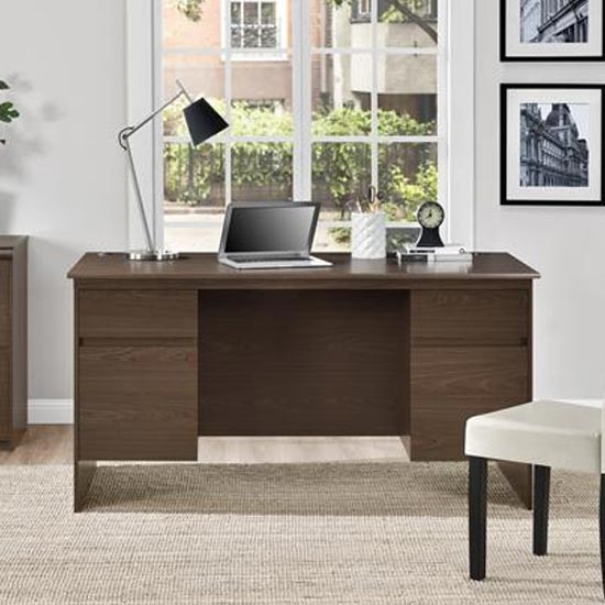 Presley Wooden Executive Laptop Desk In Dark Cherry