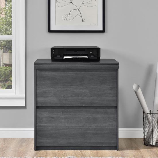 Presley Wooden Lateral Storage Cabinet In Weather Oak