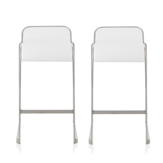 Pressley Bar Stool In White Faux Leather In A Pair