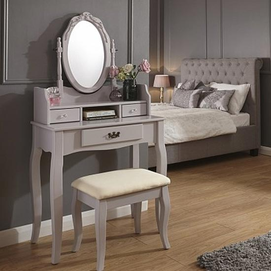 Prestige Contemporary Dressing Table Set In Grey