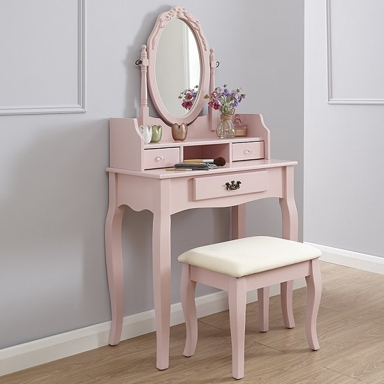 Prestige Contemporary Dressing Table Set In Pink