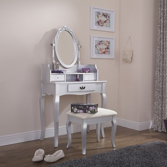 Prestige Contemporary Dressing Table Set In Silver