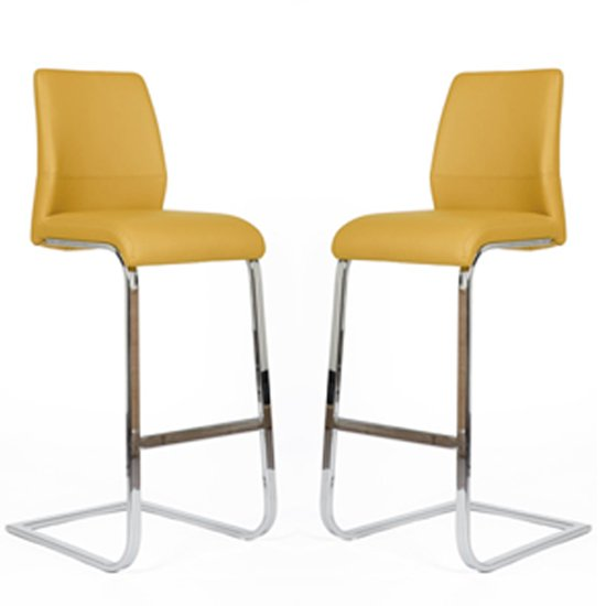 Prestina Bar Stool In Ochre Pu With Chrome Legs In A Pair