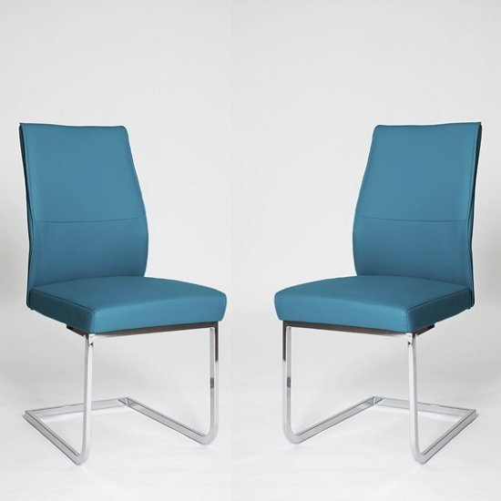 Prestina Dining Chair In Blue Pu With Chrome Legs In A Pair