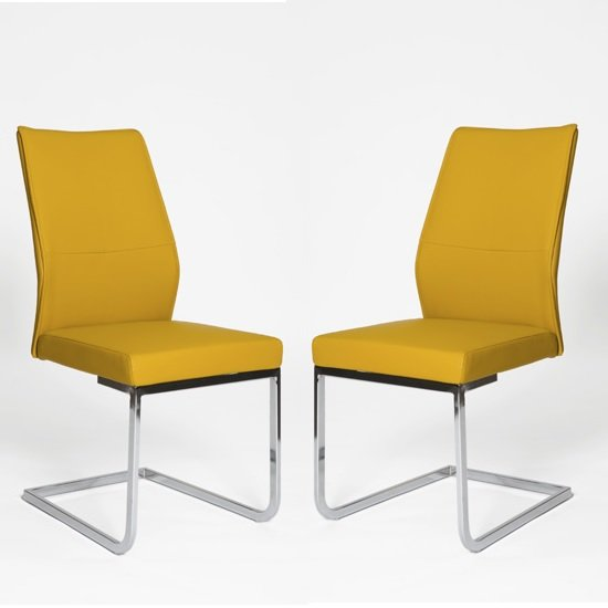 Presto Dining Chair In Ochre PU With Chrome Legs In A Pair