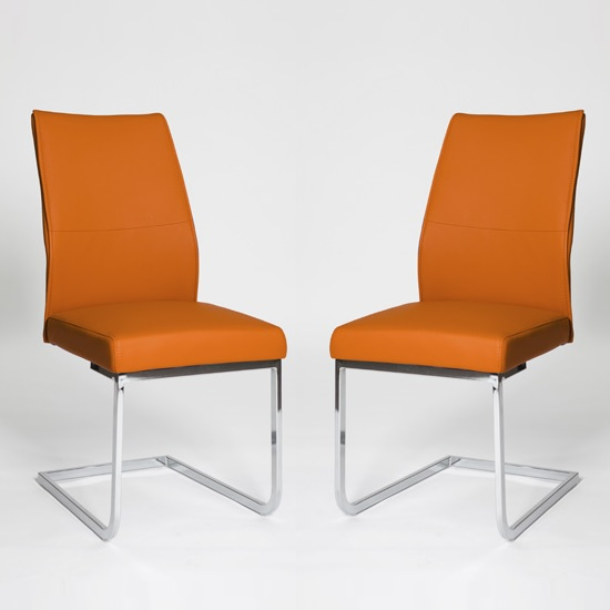 Prestina Dining Chair In Orange Pu With Chrome Legs In A Pair