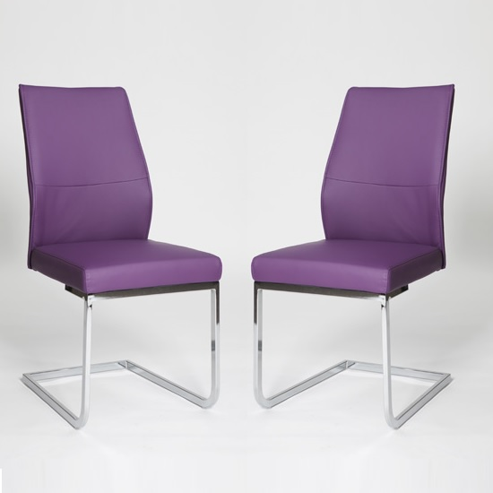 Prestina Dining Chair In Purple Pu With Chrome Legs In A Pair