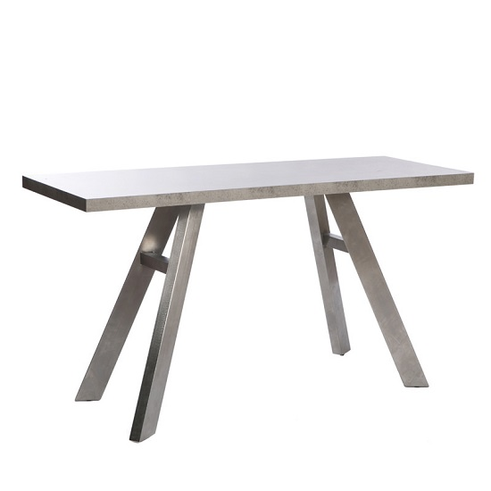 Presto Console Table In Concrete Effect With Brushed Steel Legs