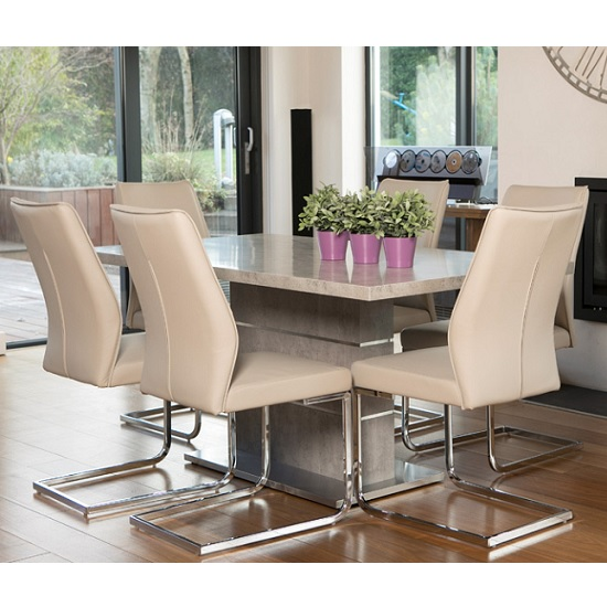Prestina Dining Table In Concrete Effect And Brushed Steel Base_2